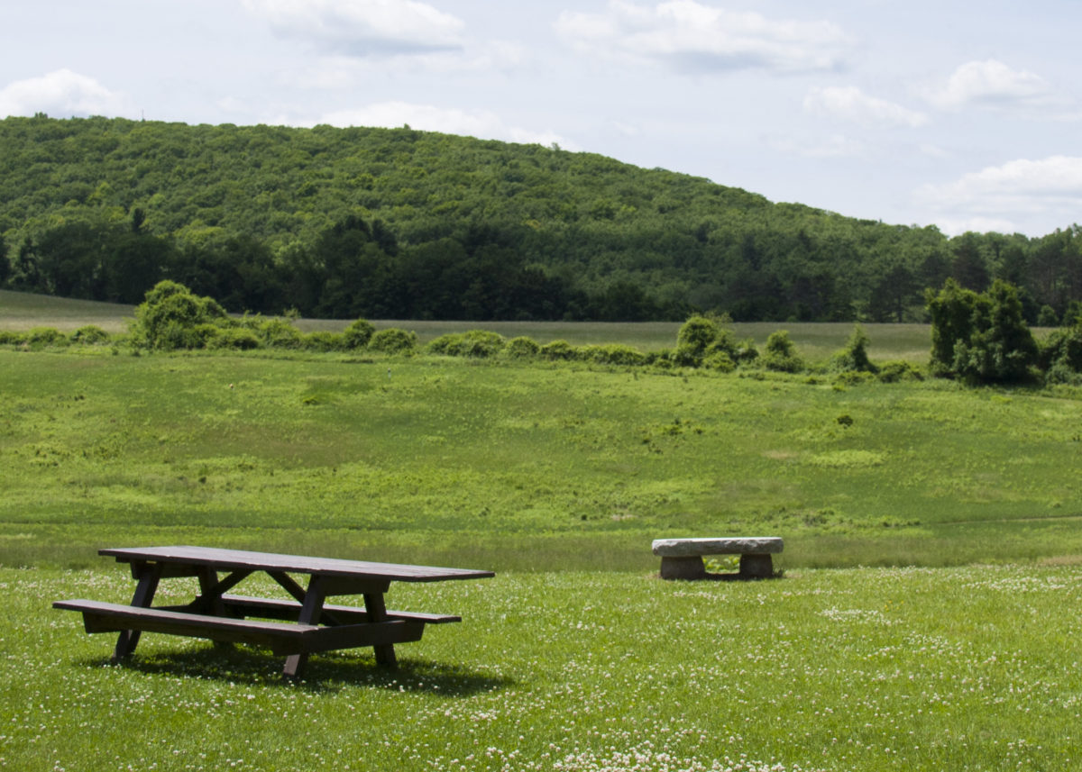 picnic table and stone bench overlooking green hayfields