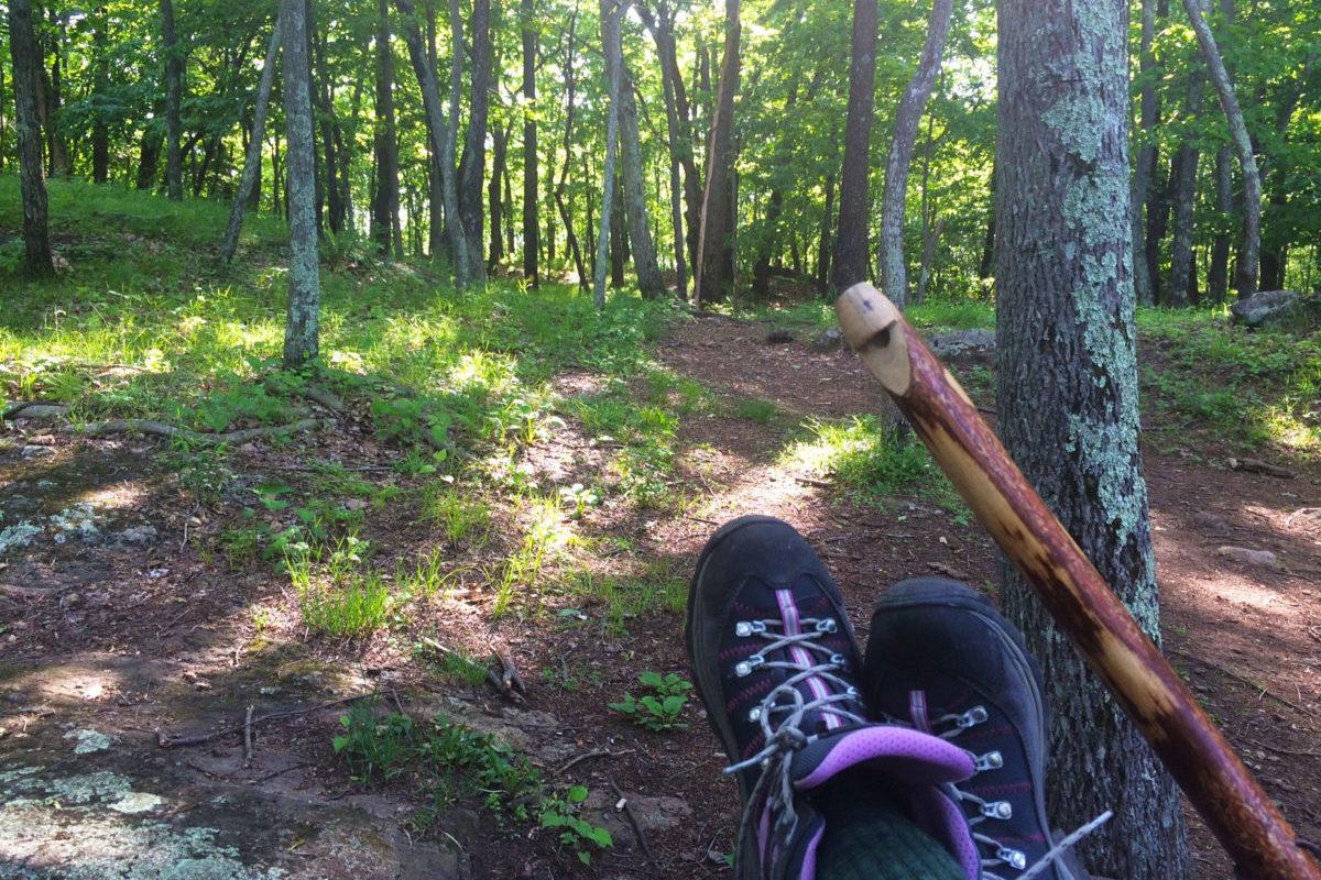 hiker taking a break on mootry point