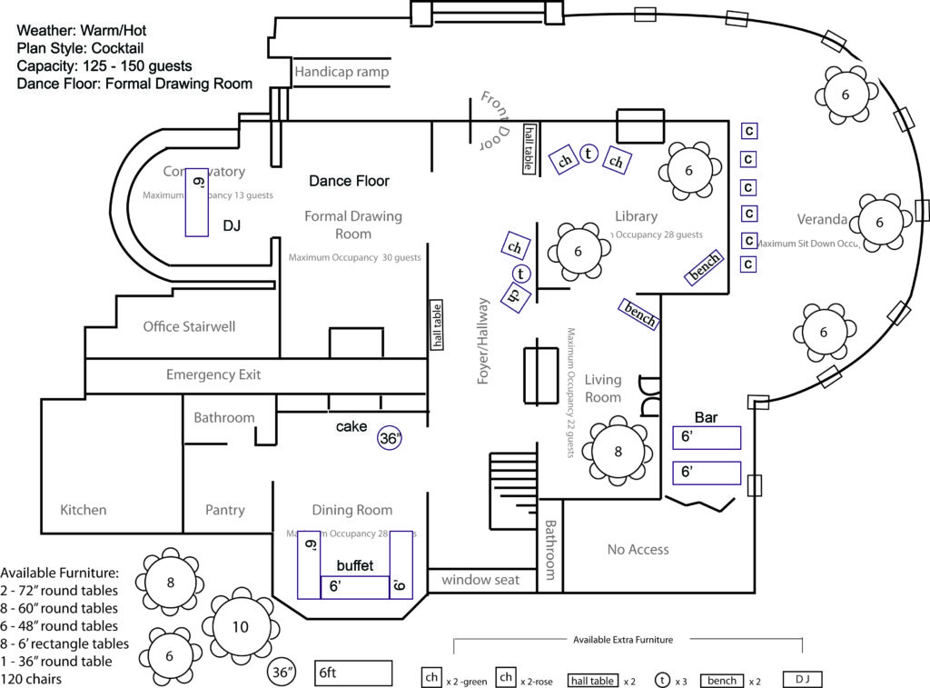 Plan Style: Cocktail Capacity: 125 - 150 Dance Floor: Formal Drawing Room