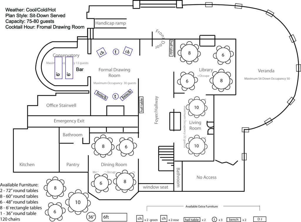 Weather: Cool/Cold/Hot Plan Style: Sit-Down Served Capacity: 75-80 guests Cocktail Hour: Formal Drawing Room