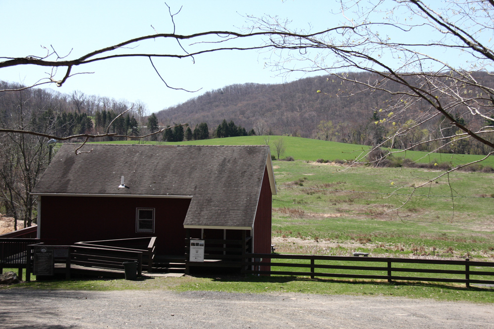 the red barn with the hayfields in the background