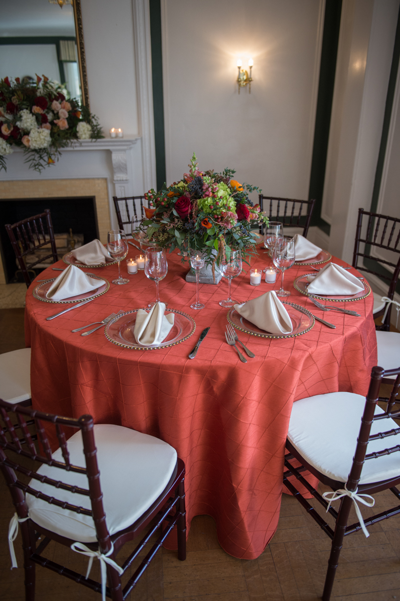 autumn themed table arrangement