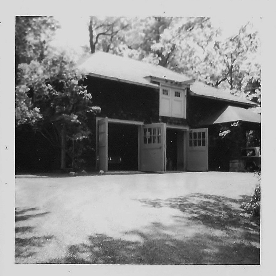 black and white photo of hearthstones castle carriage house
