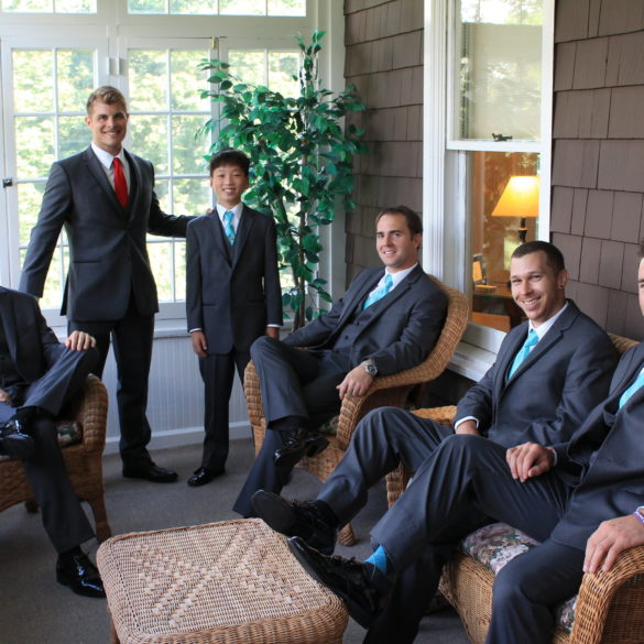 Groom and Groomsmen Enjoying our Grooms Porch