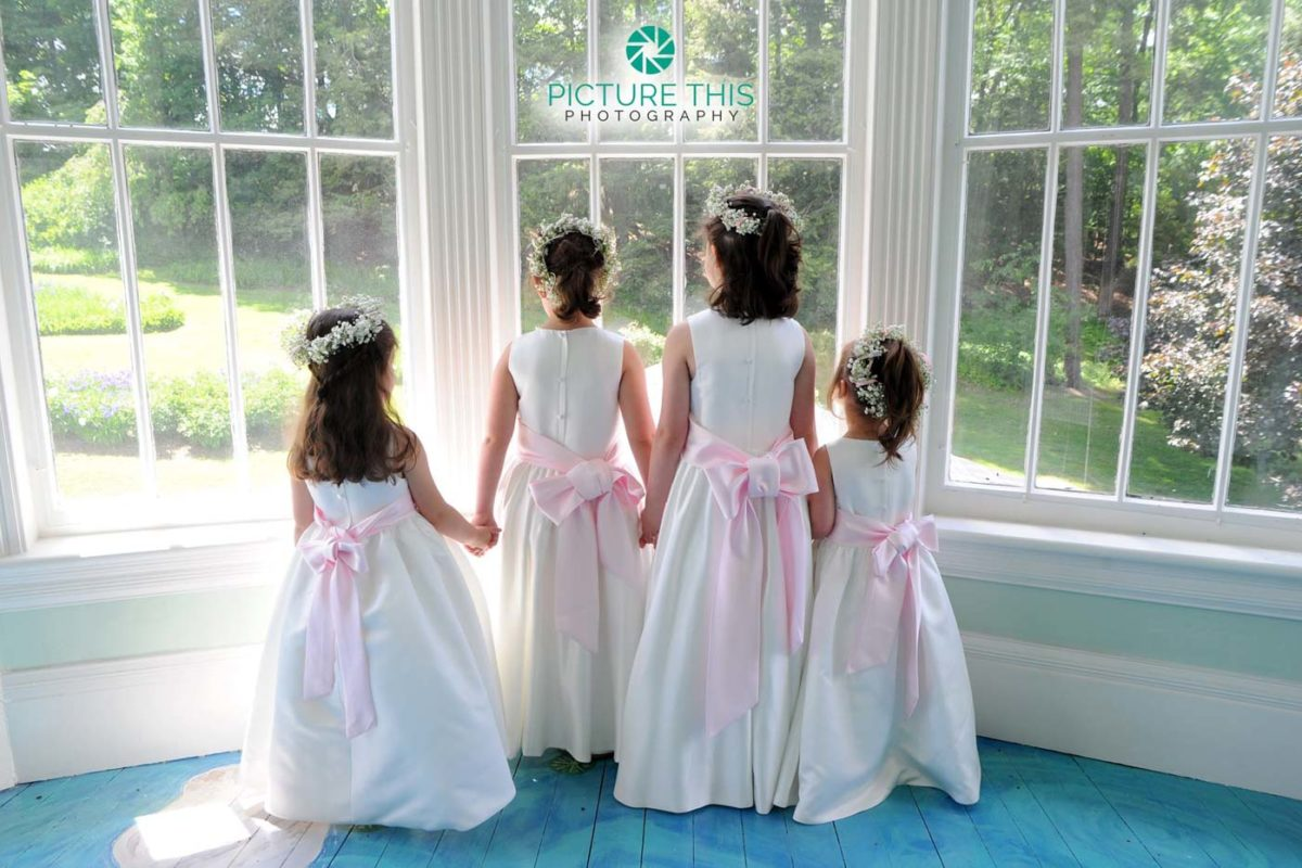 wedding-photographs-of-four-little-girls-holding-hands-lookout-out-lilly-pond-window