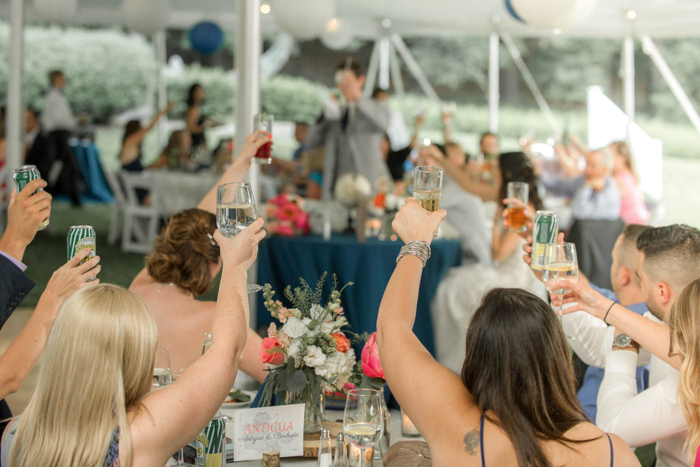 tent-wedding-guests-raise-hands-in-toast