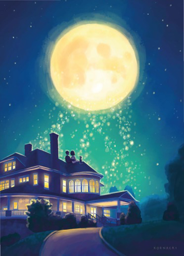 brides-illustration-of-couple-on-tarrywile-roof-under-dream-moon
