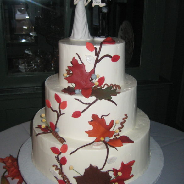 3 tier with fondant foliage