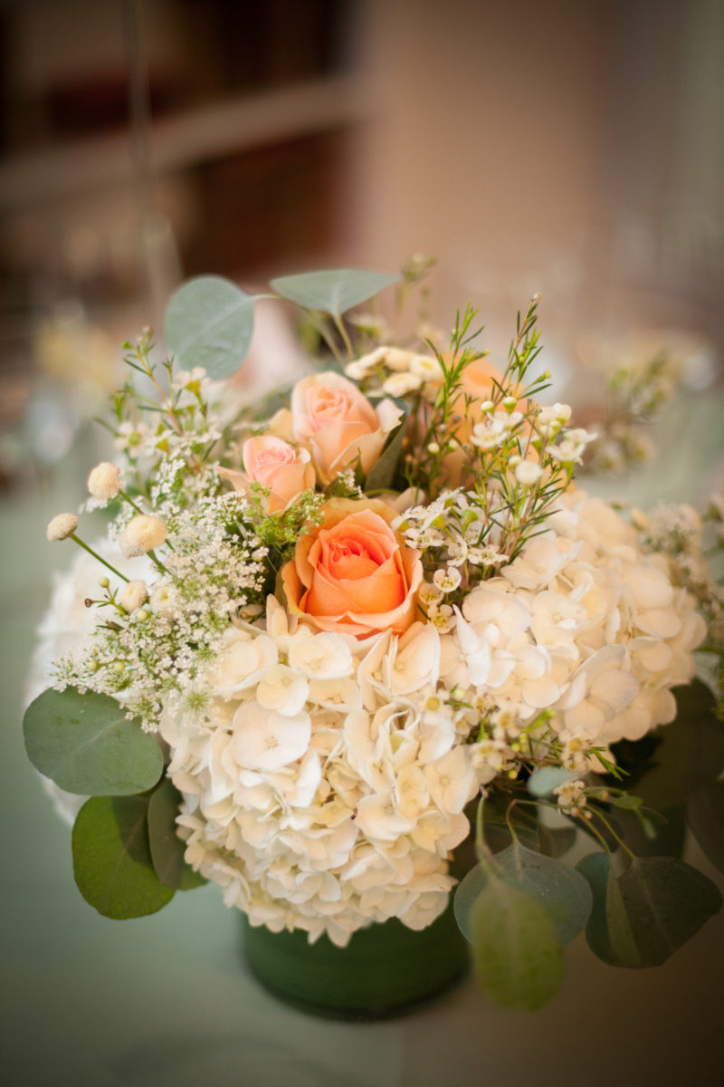 Beautiful Centerpiece in White, Peach and Light Peach