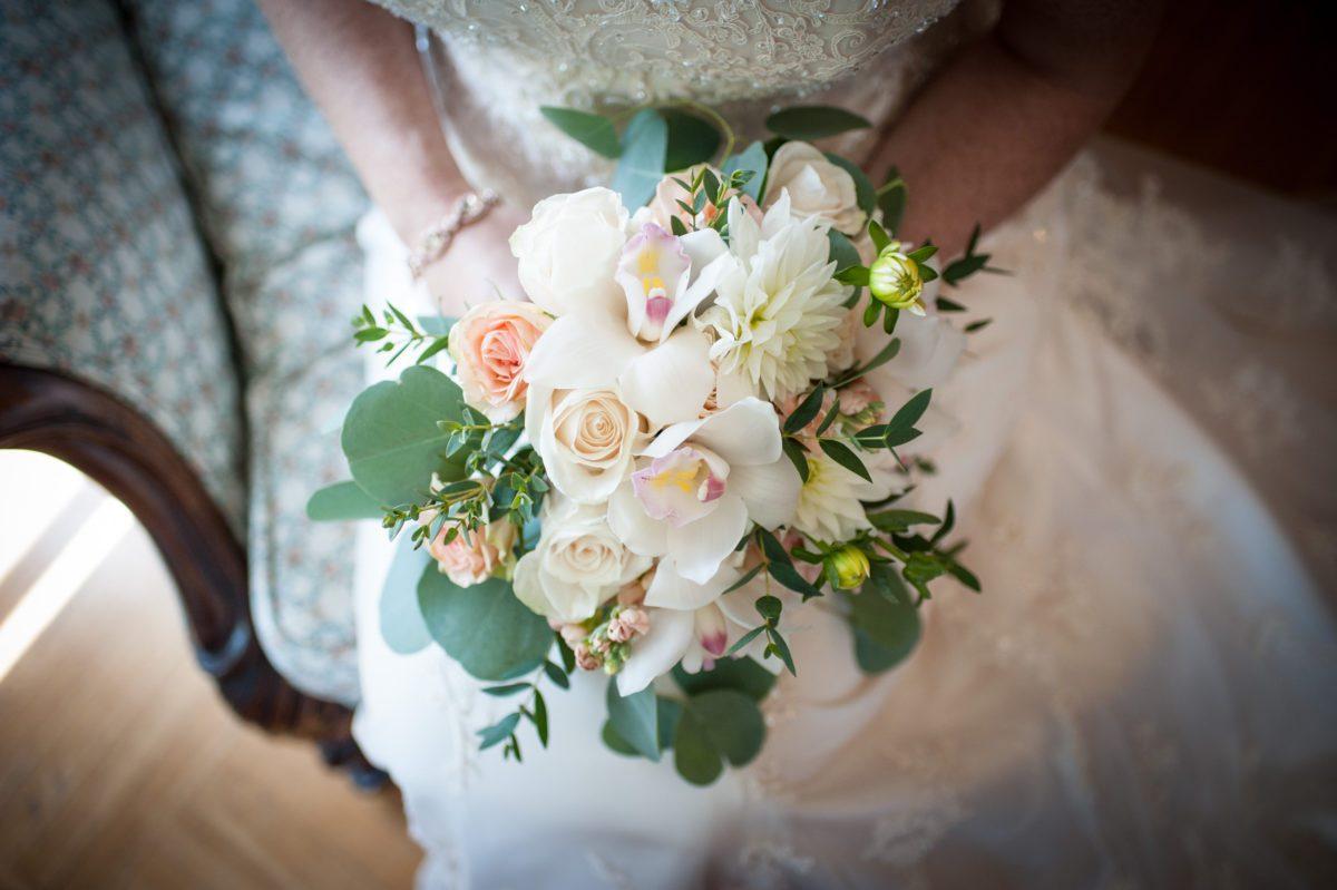 peach, white floral bouquet