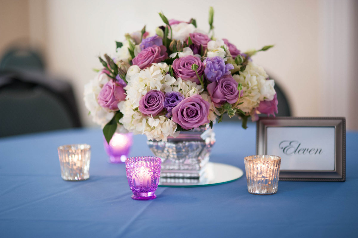 lavendar, purple and white floral arrangement