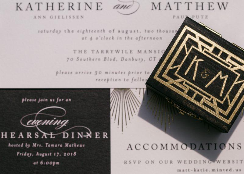 art-deco-wedding-monogramed-box-with-wedding-invitation