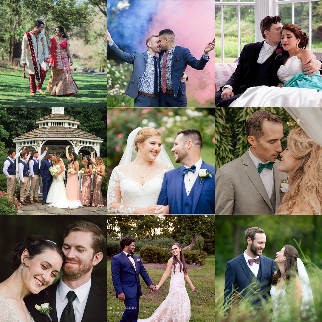 collage of couples from nine 2018 weddings