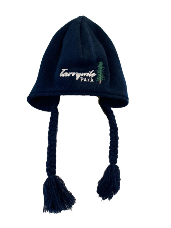 blue knit hat with tassels