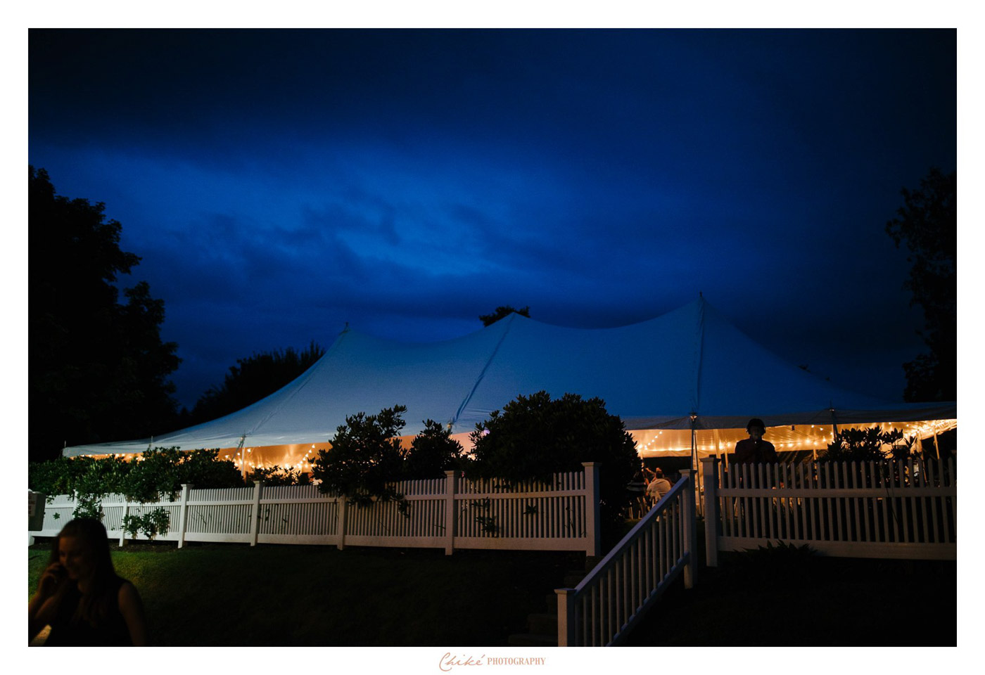 white tent light up for night reception