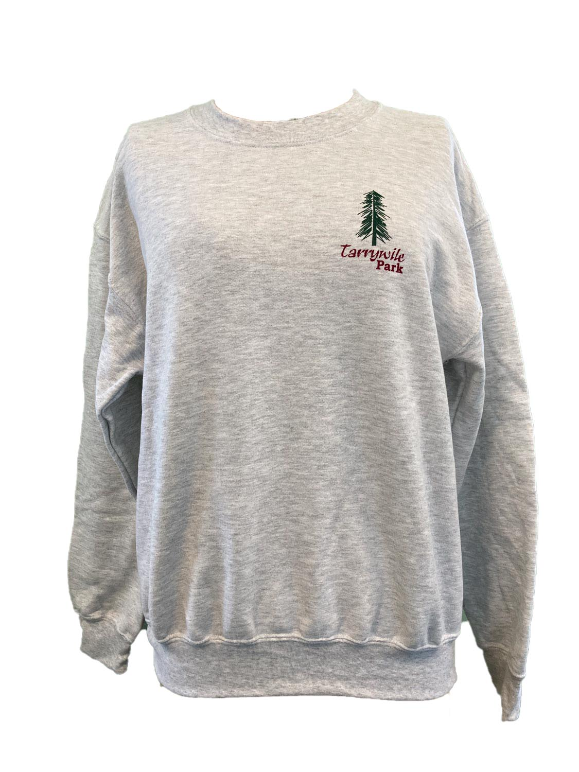 grey sweatshirt with tarrywile park and a tree