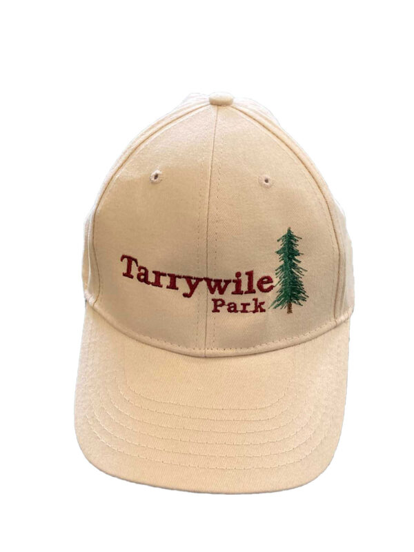 twill cap with tarrywile park and an evergreen tree embroidered
