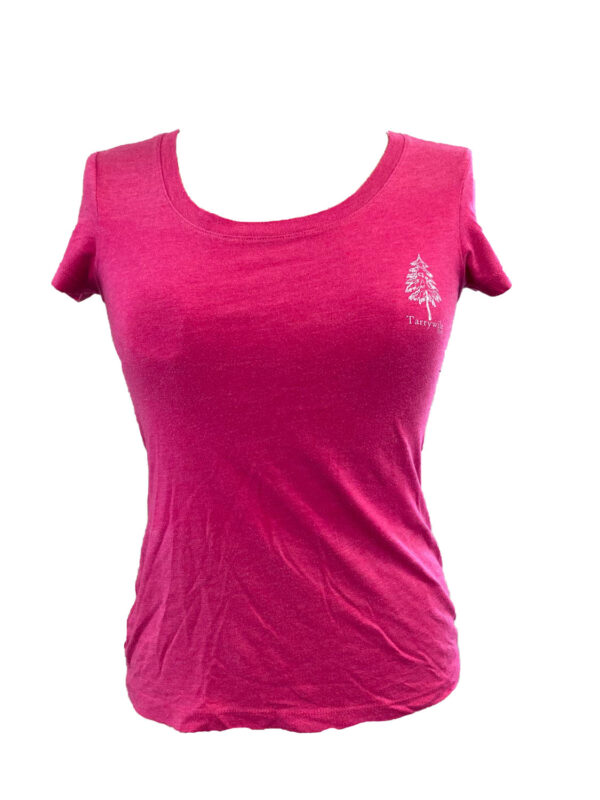berry colored t-shirt with white tarrywile park logo