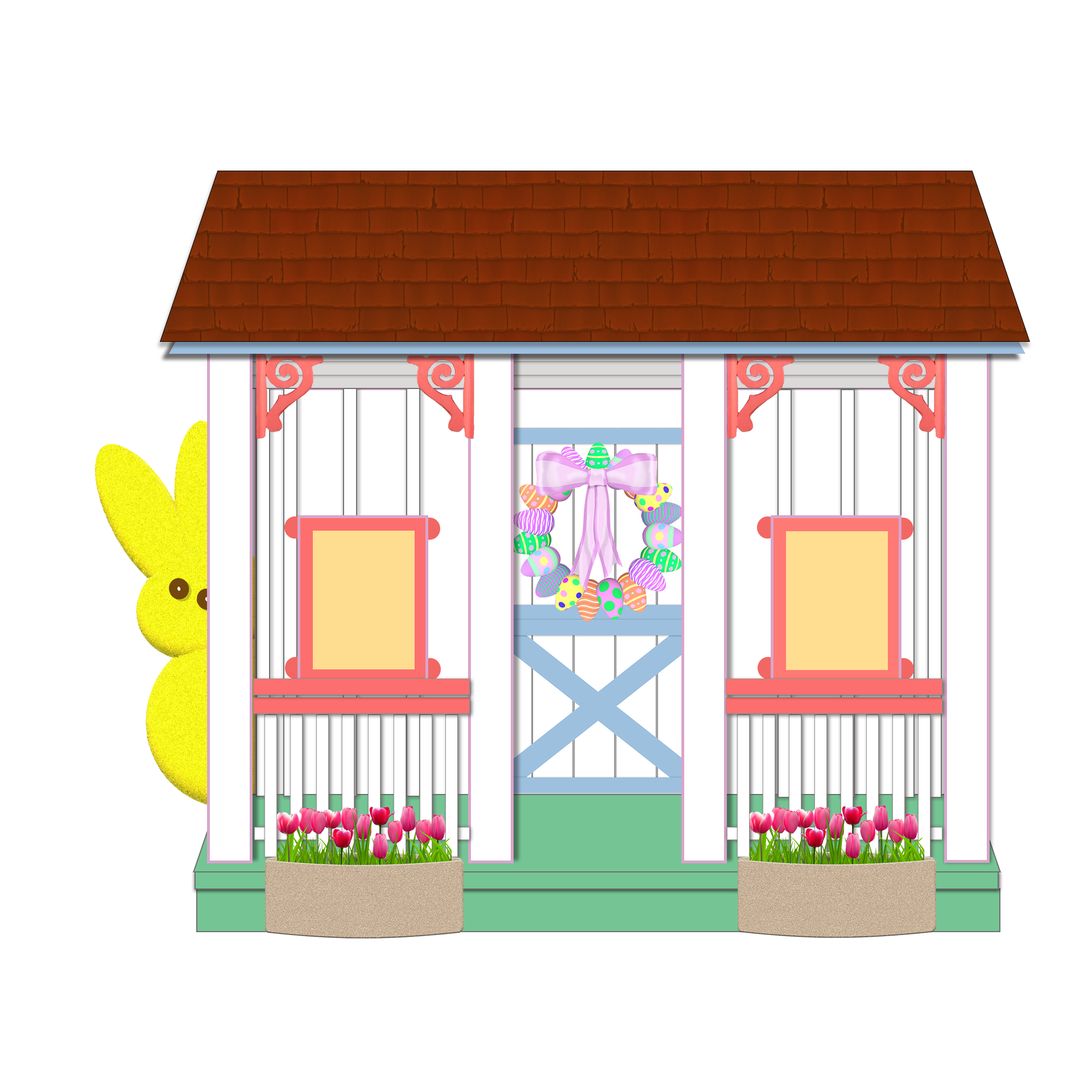 playhouse illustration with yellow peep