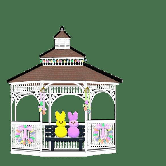 gazebo illustration with yellow and pink peep