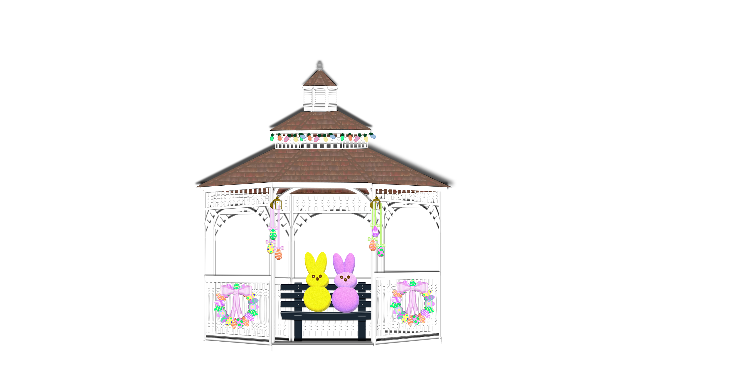 gazebo illustration with yellow and pink peep