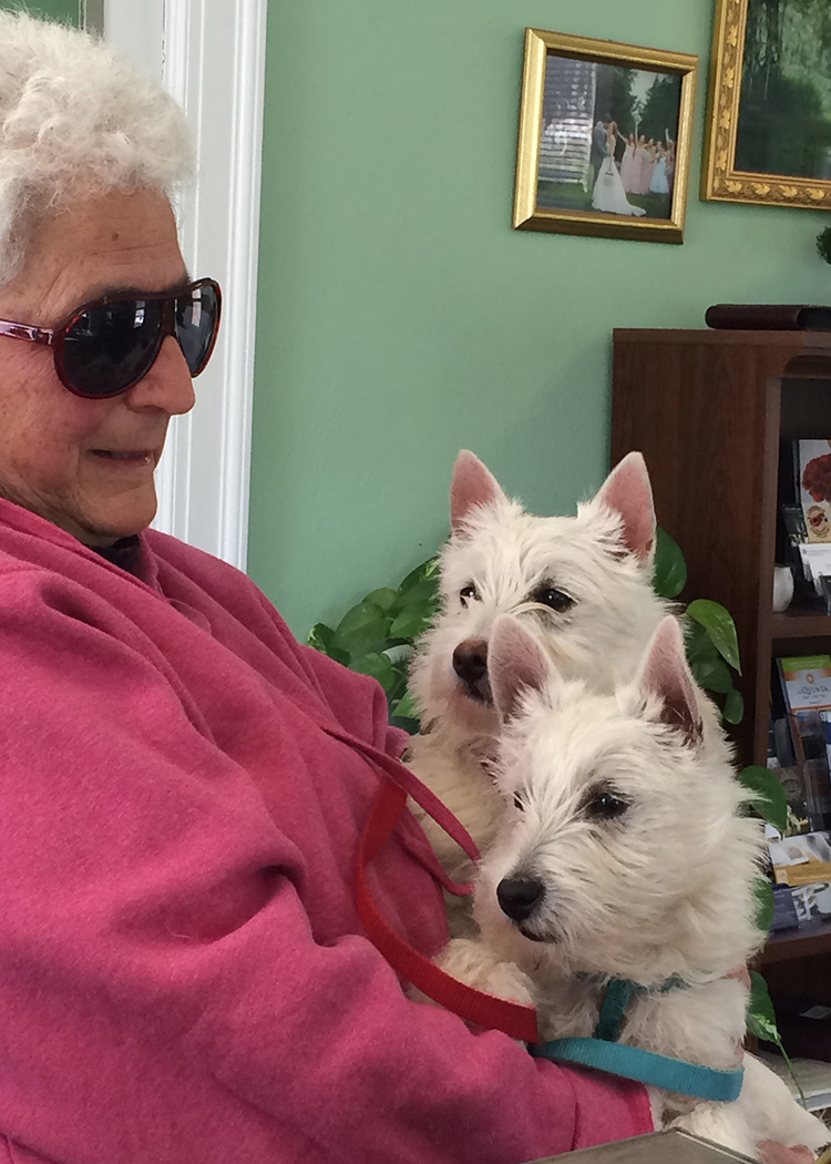 eleanor holding her two white terrier pups