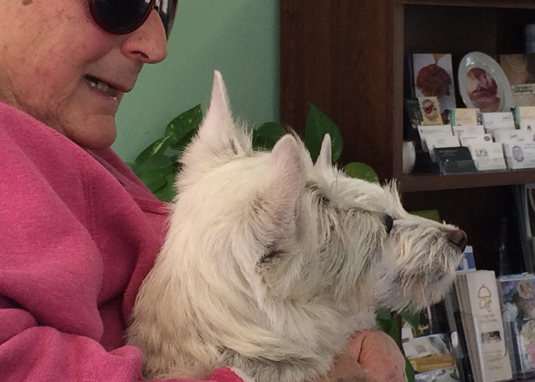 ellie holding her two scottish terriers