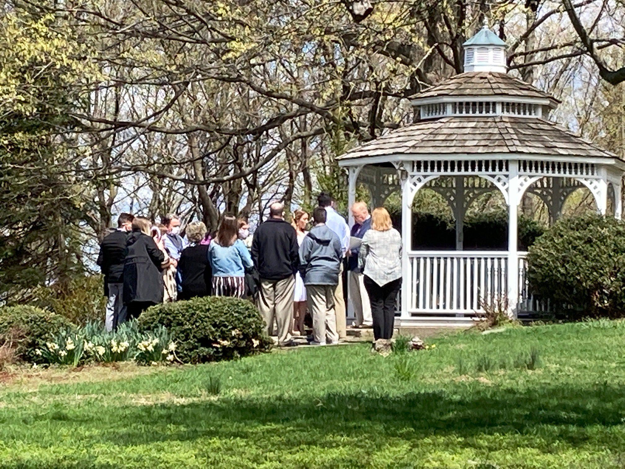 wedding ceremony at gazebo